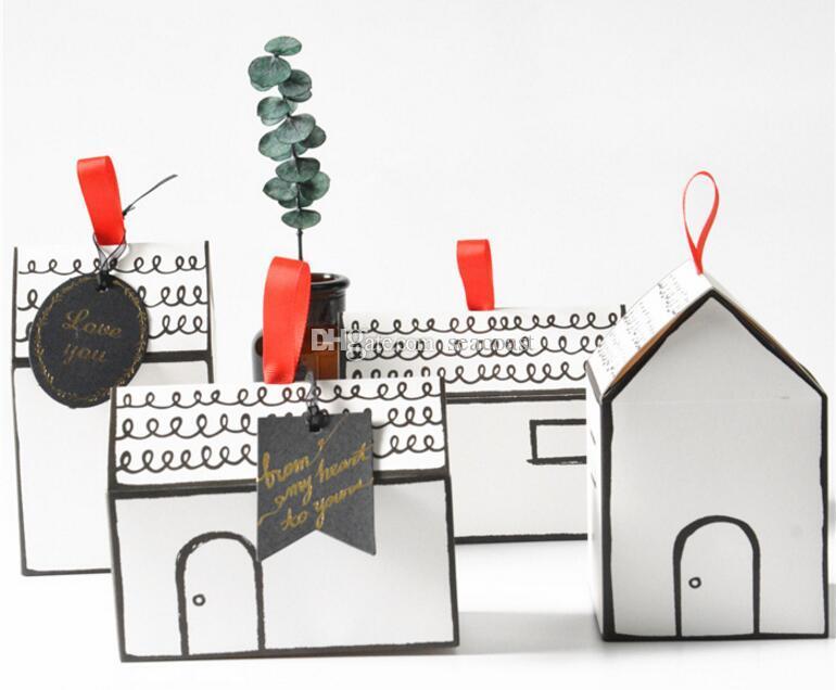 Pequena Casa Caixa De Embalagem de Papel caixa de doces caixa de presente de casamento caixas de doces nougat Livre DHL FEDEX grátis