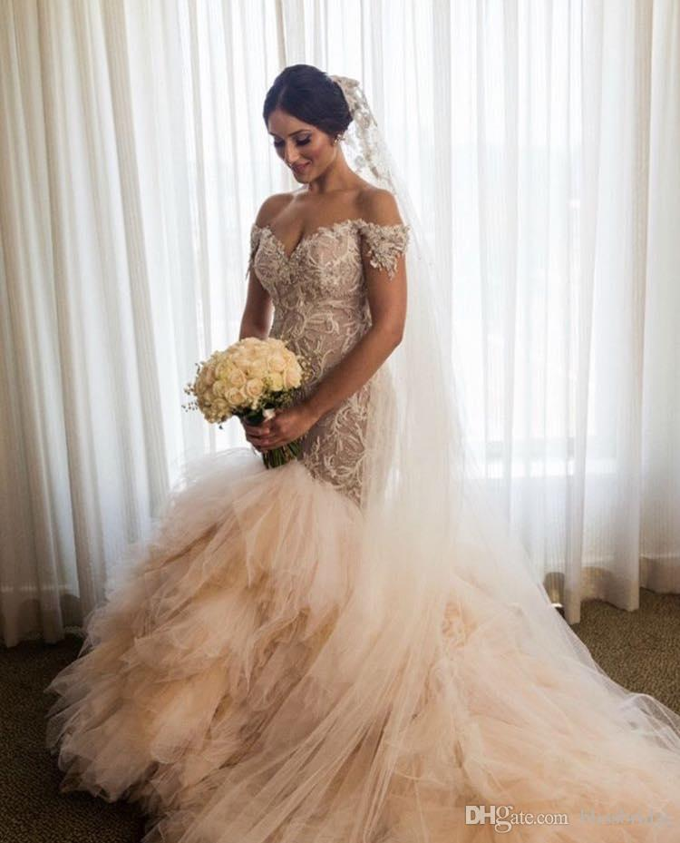 sweetheart Neck Beach Wedding Dresses Appliques Wedding Dresses With Tull Court Train Off-Shoulder Lace Mermaid Wedding Dresses