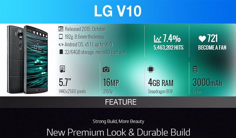 Original Desbloqueado LG V10 H901 H900 5.7