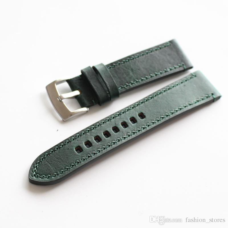 d24b0664cea5 Compre Correas De Reloj De Correa De Cuero Genuino De Color Verde Marrón  Negro Con Hebilla De Acero Inoxidable 18 Mm 19 Mm 20 Mm 21 Mm 22 Mm Envío  Gratis 2 ...