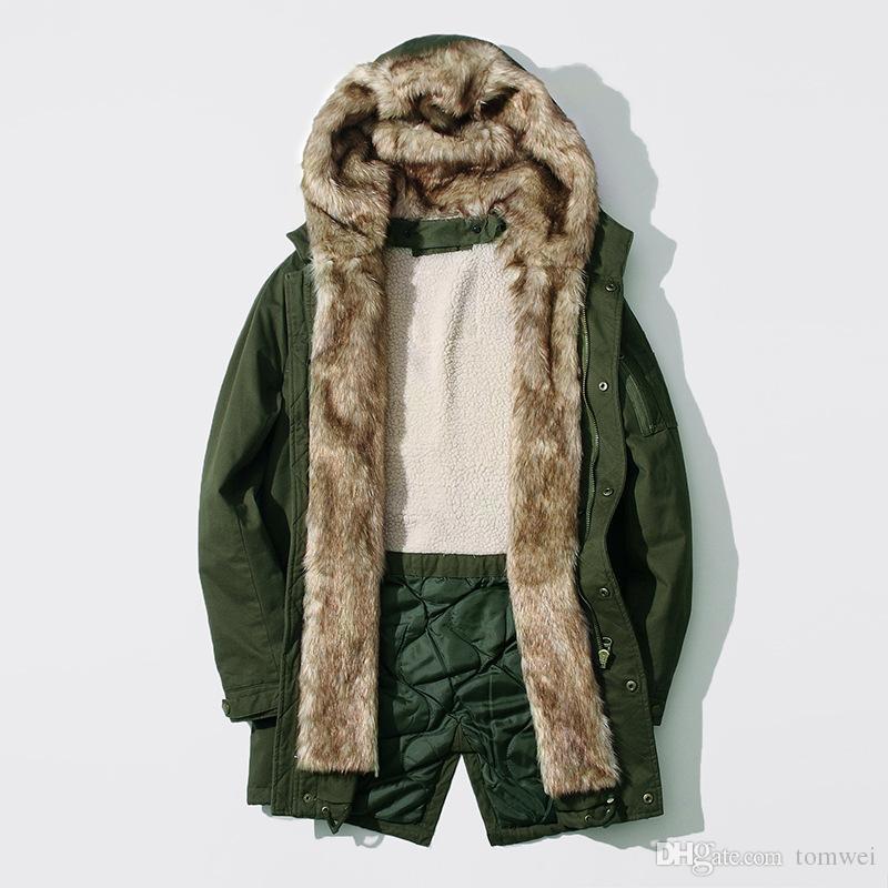 Erkek Büyük Erkek Sonbahar Kış Uzun Ceket Kürk Kapüşonlu Ceket Yüksek Taklit Tavşan Kürk Yün Astar Mont Kalın Sıcak Dış Giyim xxxl