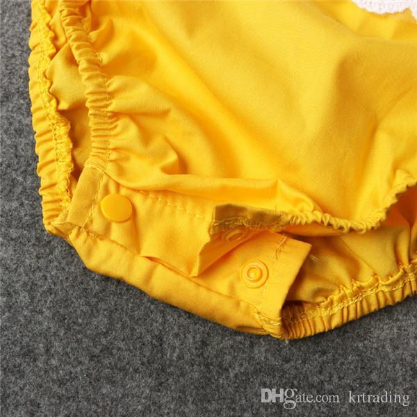 Новорожденных девочек зашнуровать желтый ползунки кружева обрезки ползунки промежность Люциан открыть младенцев симпатичные летние наряды 4sizes для 1-2T