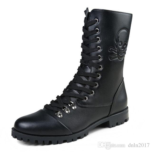 Fashion Leather Military Combat Boots For Women and Men
