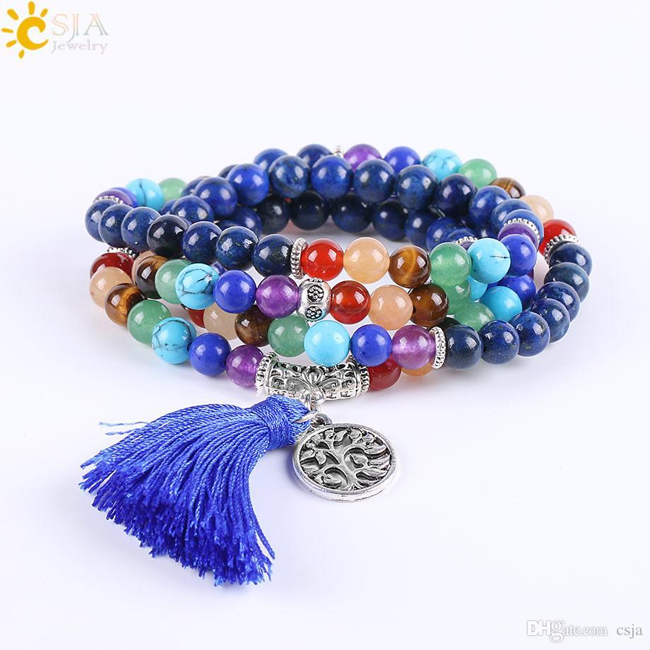 CSJA Natural Balance Stone Lapis Lazuli 108 Mala Bead Bracelet Hand Jewelry Reiki Meditation Power Charms Silver Beads Bracelet Bangle E660