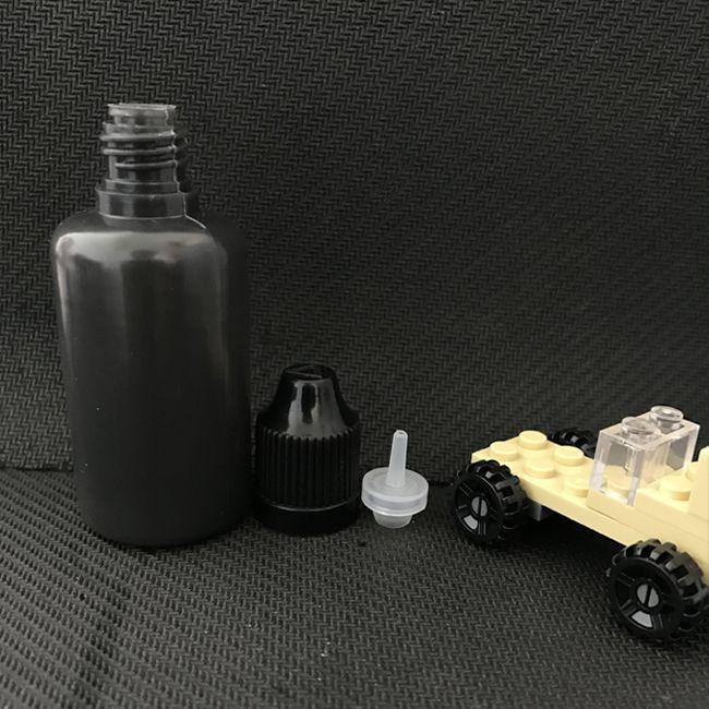 Frasco ocular PE Botellas negras vacías Unicornio Botellas de agujero 30ml Con colores de tornillo Tapas para E Cigarrillo Líquido Vape Jugo