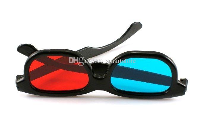 / 3D vetri rossi blu di vetro della struttura di plastica anaglifo dimensionale nera sme liberano il trasporto 0001