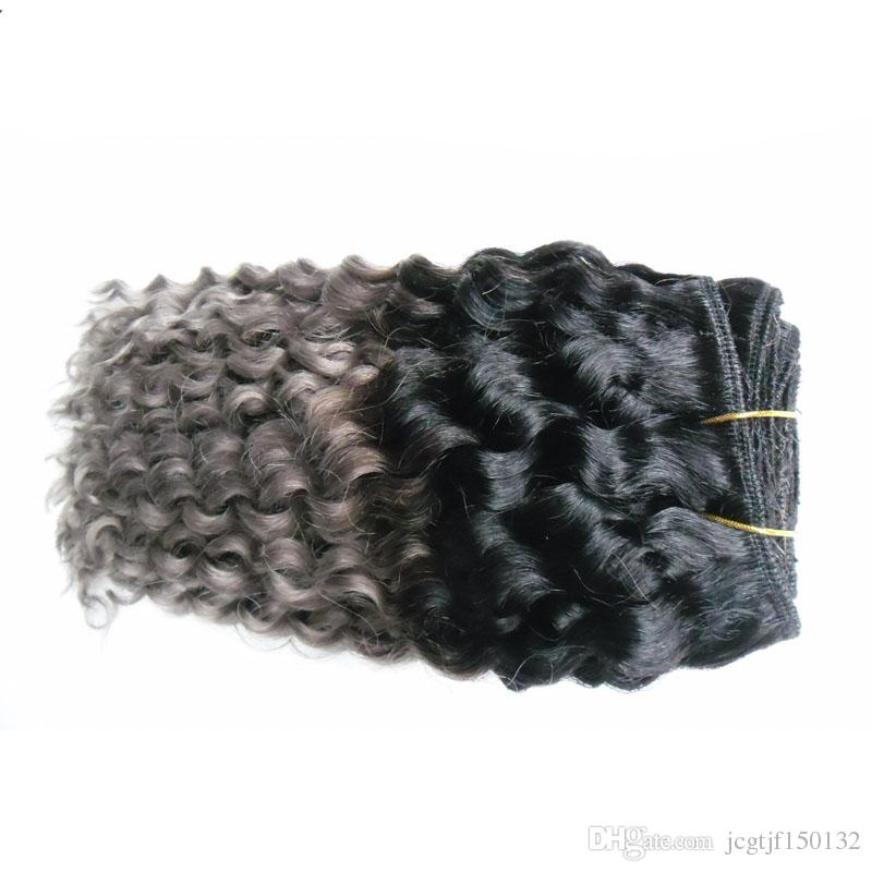 T1B / 회색 2 톤 ombre 브라질 머리 깊은 파도 100g 회색 머리 짜다 번들 브라질 머리 묶음 번들