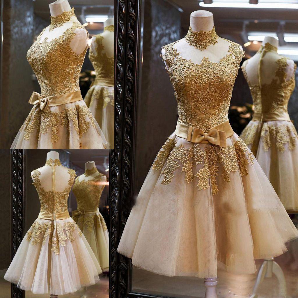 Vestidos dorados cortos