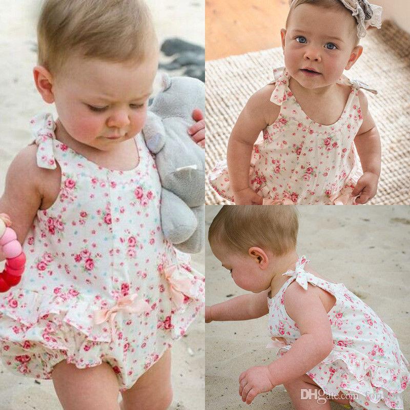 Yenidoğan Bebek Kız Giysileri Toddlers Romoper Elbise Tasarımcısı Çocuklar Takım Elbise Bebek Yaz Kıyafet Kabarcık Onesies Çiçek Porno Mayoları