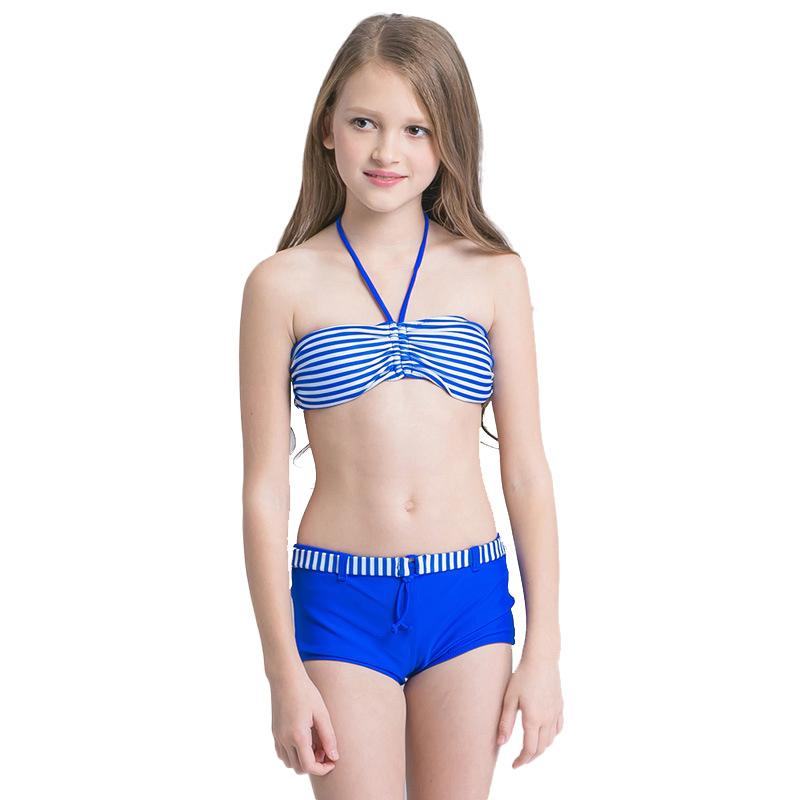 8ea1fb3e2f11e 2019 Two Piece Girls Bikini Stripe Kids Swimwear Swimming Suit Super  Elastic Nylon Multi Color Lace Up Breathable Soft From Tiangeltg