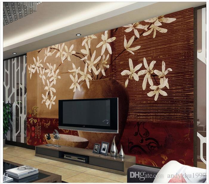 3D wall murals wallpaper custom picture mural wall 3DVase flower home and rich classical wallpaper 3D Mural wallpaper
