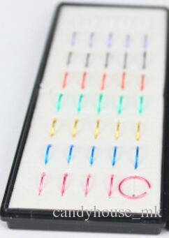 2020 الرجال النساء خواتم الأنف ترصيع جديد 40 قطع الأنف الدائري مربع التعبئة والتغليف ثلاثة ألوان الأنف الدائري مجموعة اوجير الملحقات الزخرفية