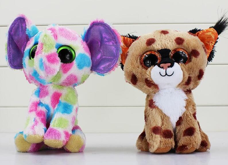 TY Beanie Boos große Augen Plüschtier Puppe Kind Geburtstag Weihnachtsgeschenk Hund Elefant Kaninchen Pinguin Freies Verschiffen