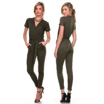 cb8c0fba1703 WholeTide Womens Business OL V Neck Jumpsuit Romper Pants Bodysuit Overall  Trousers Pop Nice