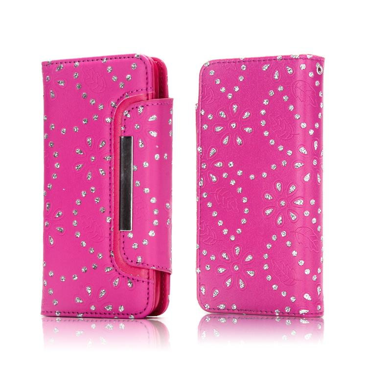 For Galaxy S9/S8/Plus 2 in 1 Bling Glitter Flower Wallet Leather Card Slot Detachable Removable Frame Photo Flip Cover Purse Handbag Strap