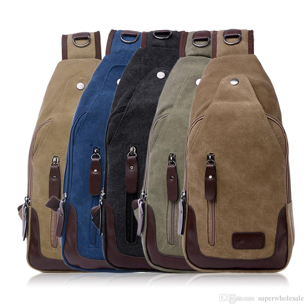 2019 Men S Canvas Chest Pack Cross Body Outdoor Travel Bag Rucksack Sling  Backpack Casual Canvas Unbalance Backpack From Superwholesale bab6a35974999