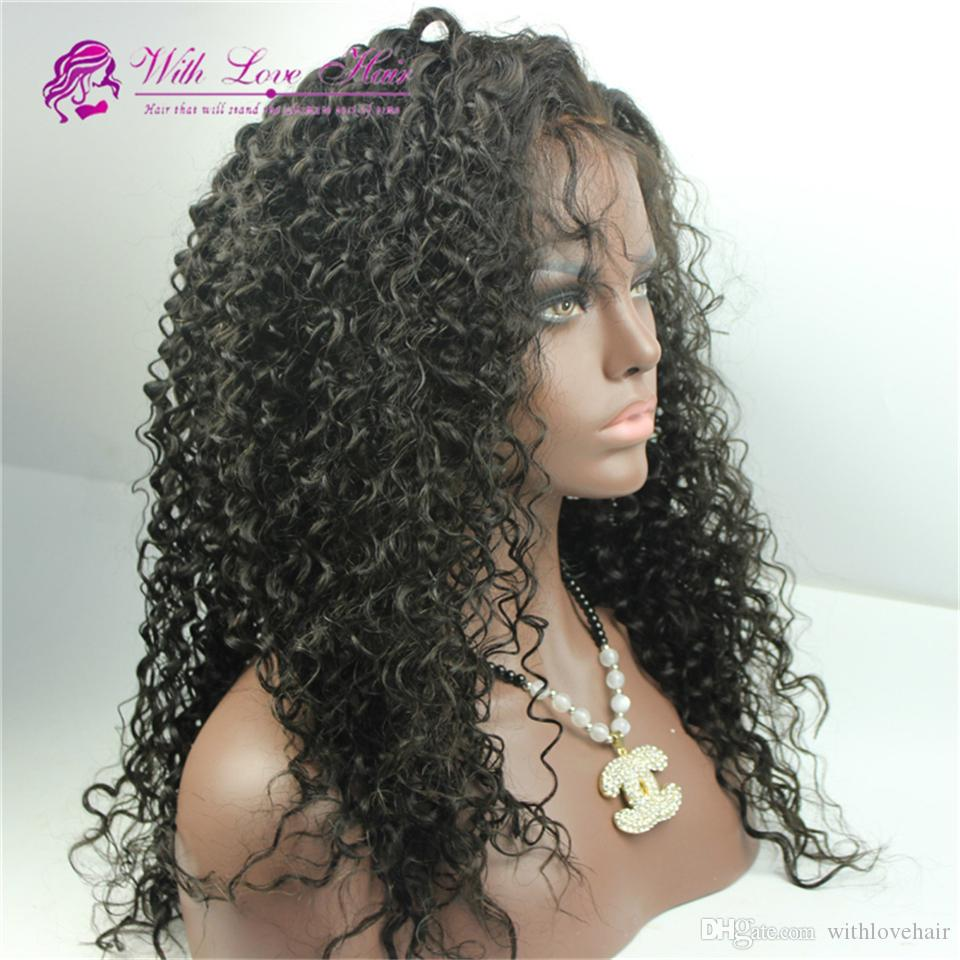 Virgin Malaysian Kinky Curly Human Hair Full Lace Wig Long Kinky Curl Virgin Hair Unprocessed Glueless Lace Front Wig