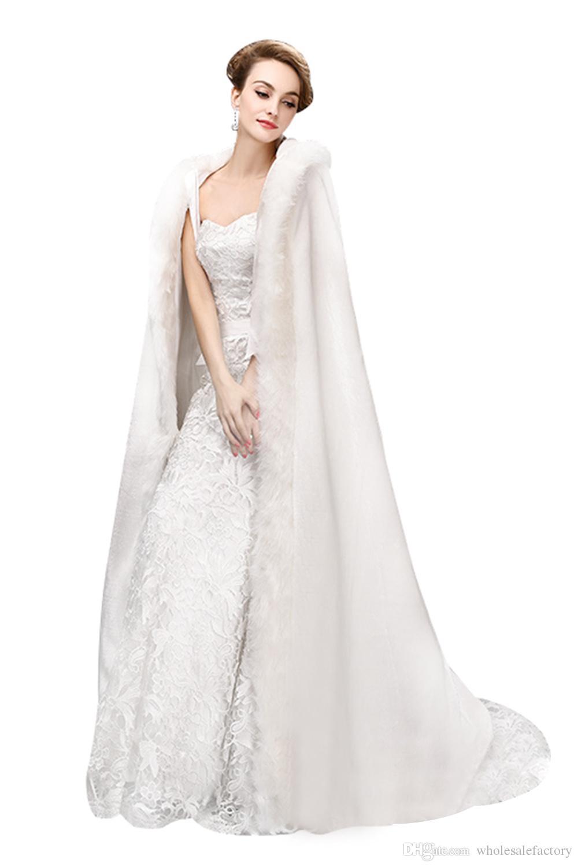 Venda Elegante Long Faux Fur Wedding Casaco com aros para inverno quente mulheres capa para ocasiões especiais casacos de casamento 2017 quente