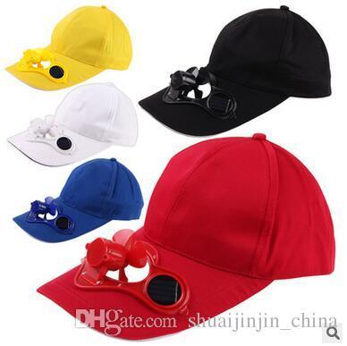 3482e26df75 Solar Power Cap Suntan Hat Cooling Cool Fan For Sport Peaked Caps Outdoor  Golf Baseball Fishing Snapbacks Baseball Hats CCA6549 Flat Bill Hats  Baseball Hat ...