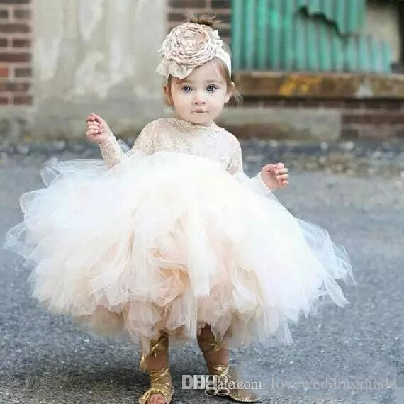 2019 Lovely Ivory Baby Infant Toddler Baptist Clothes Vestidos de flores con mangas largas Tutu de encaje Vestidos de fiesta