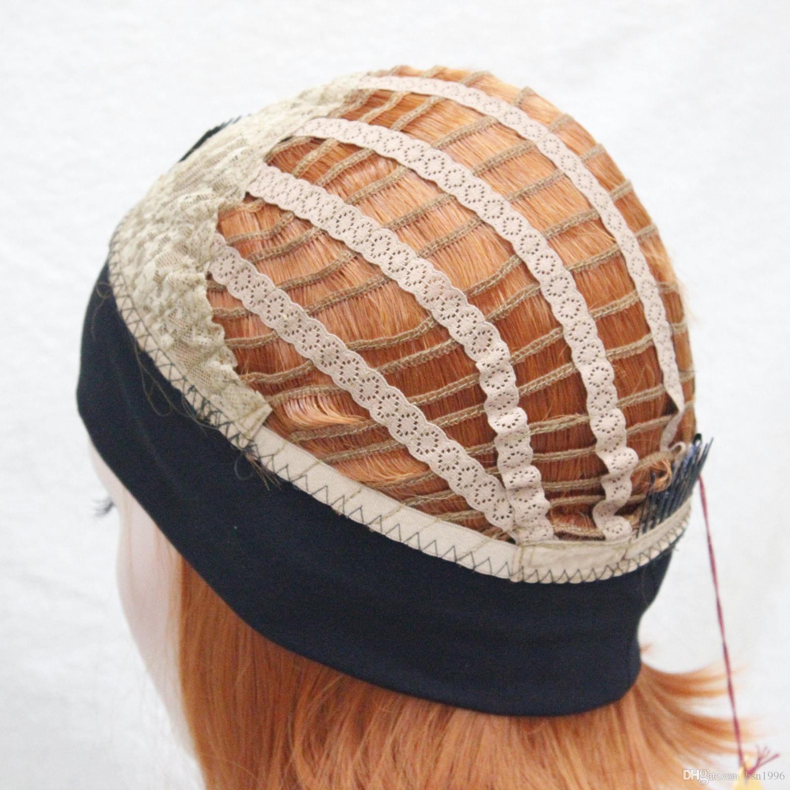 spedizione gratuita bella bella sintesi Cute arancione marrone 3/4 parrucca con mezza parrucca sintetica donna dritto corto