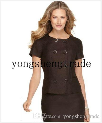 Women Business Suit Short Sleeve Double Breasted Jacket Custom Made Brown Suit Crew Neckline 671
