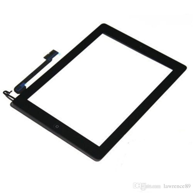 Touch Screen Glass Panel with Digitizer Buttons Adesivo iPad 2 3 4 in bianco e nero DHL libero