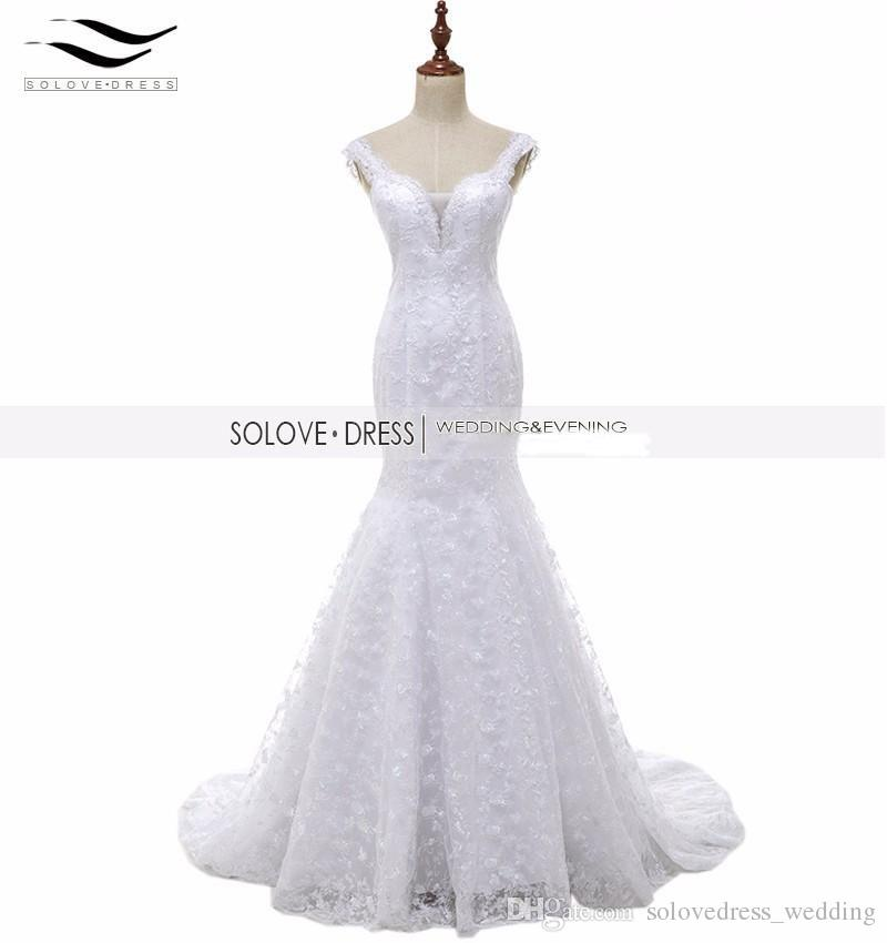 a7b6f6a51be Solovedress Real Photos Beaded Mermaid Lace Wedding Dress Buttons Spaghetti  Strap Sweetheart Bridal Gown Vestido De Noiva SL223 Wedding Dress Bridal  Gown ...