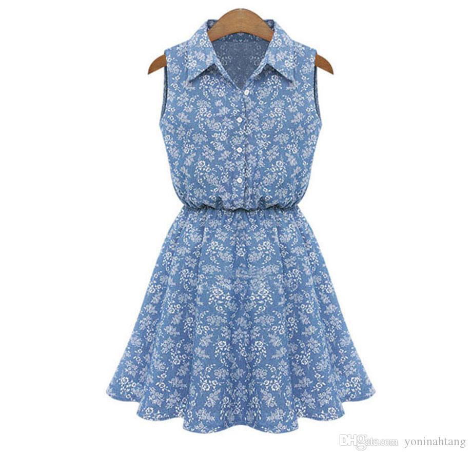 Wholesale Summer Fashion Women Lady Lapel Sleeveless Casual jean Slim Denim Dress With belt Ladies Mini Dot summer