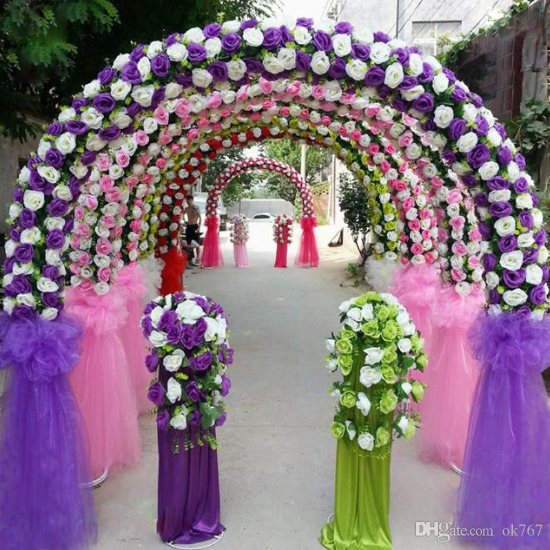 Discount diy wedding arch decorations 2018 diy wedding arch cheap diy wedding decoration props simulation silk flowers rose wedding arch wedding artificial flower road led flowers diy wedding arch decorations junglespirit Gallery