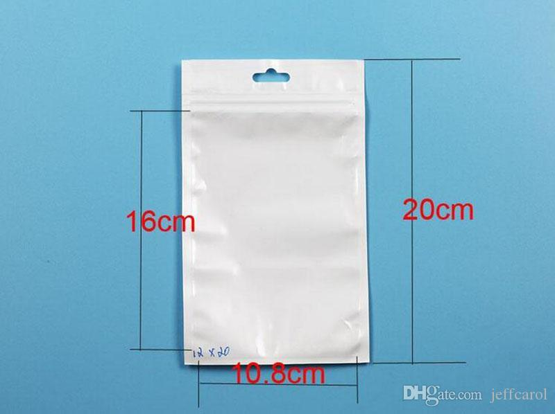 White/Clear Valve Resealable Zipper Plastic Retail Packaging Poly Bag, Ziplock Zip Lock Bag Retail Storage W/ Hang Hole for cable case