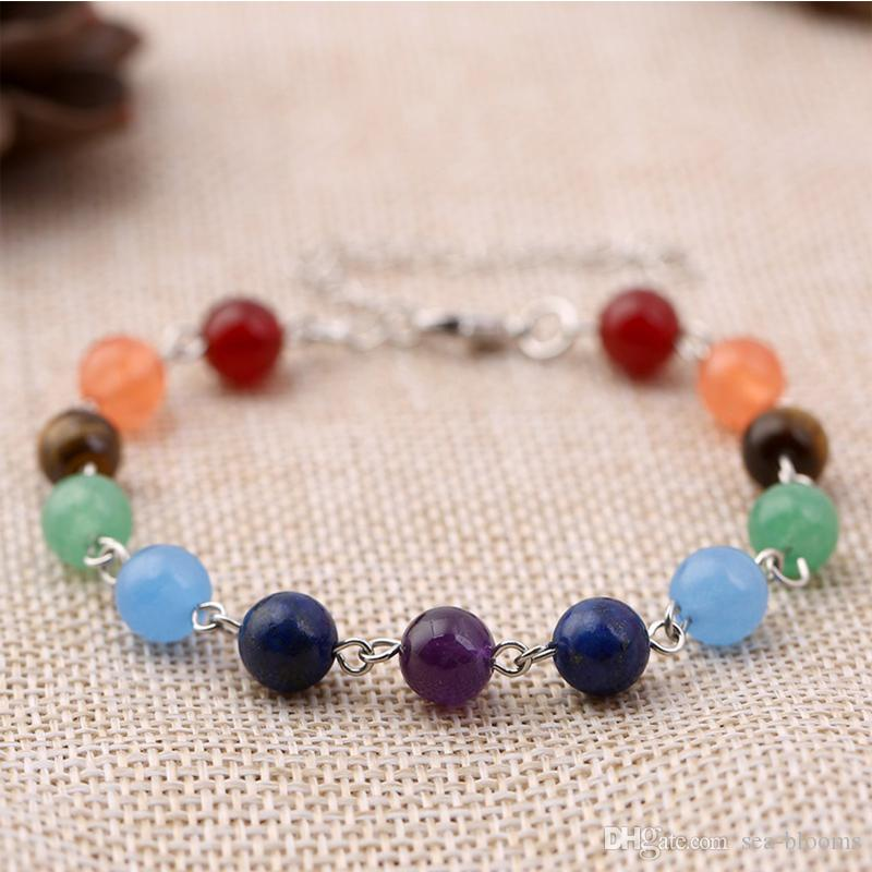8 Mm 7 Chakra Healing Bracelet With Real Stones Mala Meditation Bracelet Men'S And Women'S Religious Jewelry B123S