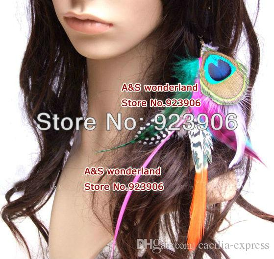 peacock feathers grizzly feather clip in/ on hair extension women's fashion feather clip in hair extensions