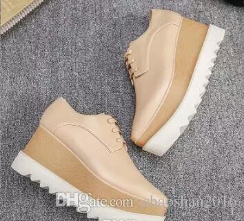 Nueva Llegada Marca Italiana Stella Shoes McCartney Mujer Causal mujer Zapatos Estrellas Cuñas Suela plataforma de cuero genuino