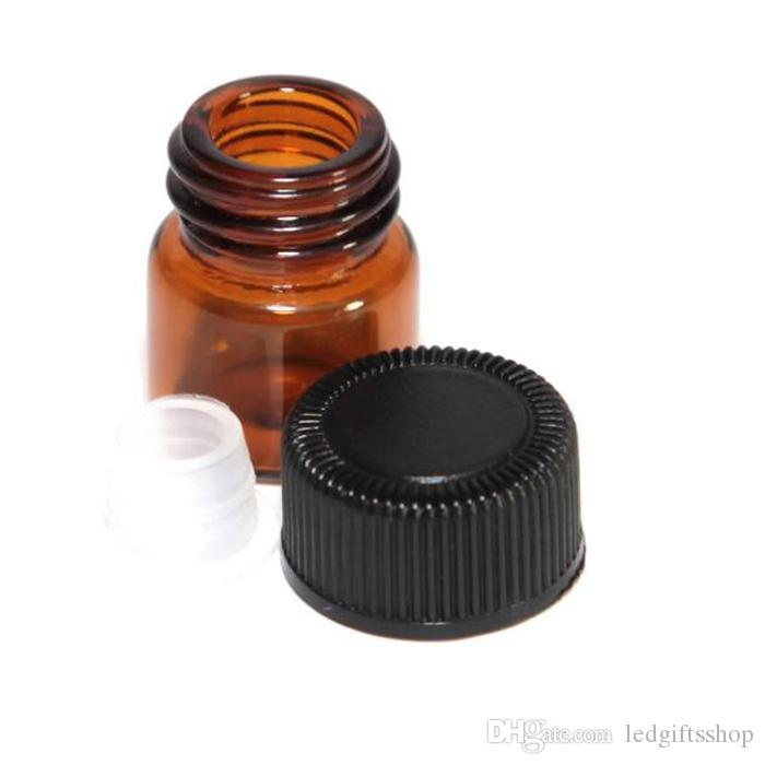 Botella de vidrio ámbar de 2 ml de venta caliente con punta y tapa negra, botella de aceite esencial marrón de 2 ml, botellas de gotero de vidrio vacías de 2 ml