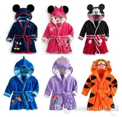 Kids Hoodedpre Robes With Velvet Clothes For 5t Bathrobe Long Bath School Coral Boys Shower 1 Towel Girls Cartoon Mickey dBoexrC