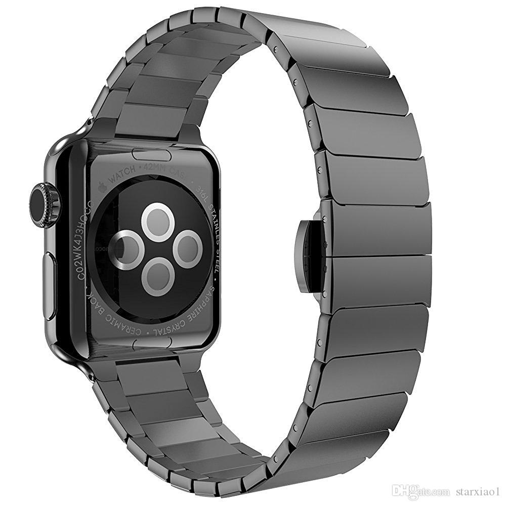 banda de lujo para pulsera de eslabones de reloj de manzana 38 mm 42 mm 40/44 mm correa de acero inoxidable 316L para apple iwatch serie 4/3/2/1