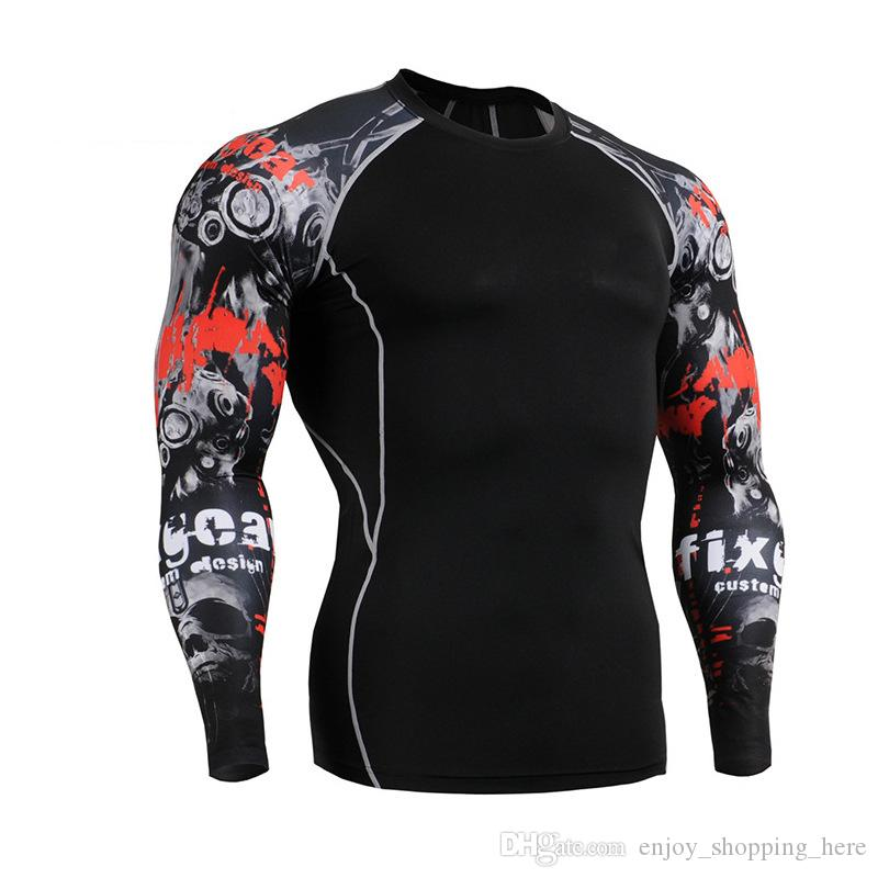 Muscle Men tights 3D Print Compression Shirt crossfit T shirt Long Sleeves Thermal Under To Fitness Base Layer Weight Lifting