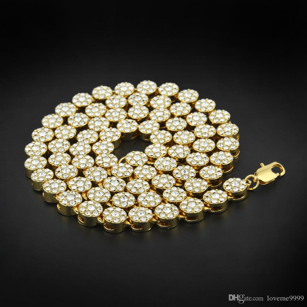 Мужчины хип-хоп Bling StonevJewlery 24K ТВЕРДЫЕ ЗОЛОТЫЕ ЗОЛОТЫЕ МАЙАМИ КУБИНСКИЕ СВЯЗИ Цепочки блестящие круглые полный кристалл горного хрусталя длинное ожерелье