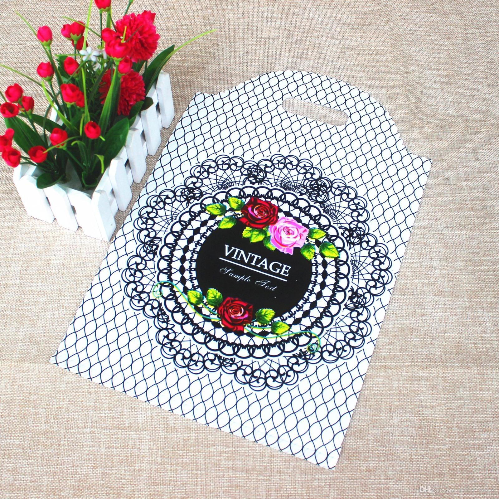 20*26cm Small FlowerPlastic Bags , Shopping Jewelry Packaging Plastic Wedding Gift Bags floral Bag for choose