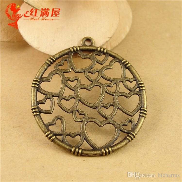 32 MM Antik Bronz link kalp yuvarlak takılar bilezik için bilezik, metal dangle tibet gümüş kolye kolye için, moda alaşım pirinç charm