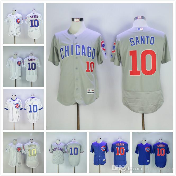 330a2a5a27f ... 2016 World Series Champions Gold 10 Ron Santo Jersey Chicago Cubs  Flexbase White Pinstripe Grey Blue ...
