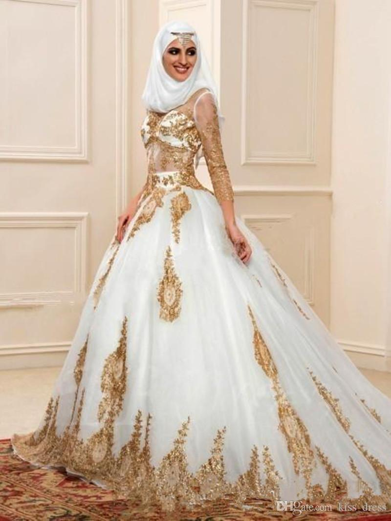 Newest white and gold muslim wedding dresses 3 4 long for Long sleeve indian wedding dresses