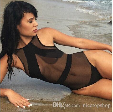 2015 New Mesh Black White One Piece Swimwear Sexy See Through Bikini Monokini Vintage Bathing Suit Swimsuit solid net bikini for ladyies