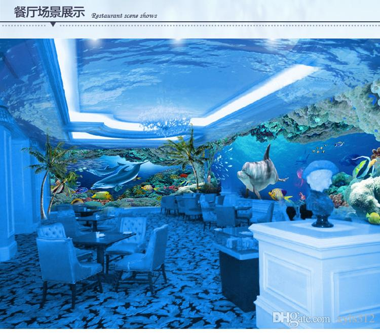 Nahtlose 3D Stereo Delphin Tapete Unterwasserwelt Wohnzimmer TV Hintergrund ktv Restaurant Cartoon Tapete Tapete