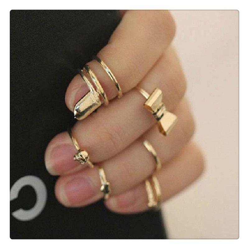 2017 Women Fashion Rings Set Vogue Gold Skull Bowknot Heart Design Simple Nail Band Mid Finger Rings Set Nail Band Rings