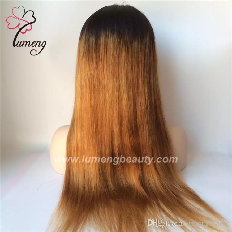 parrucche piene delle donne del merletto T colore 1b colore marrone 100% capelli umani vergini brasiliani fatti a mano
