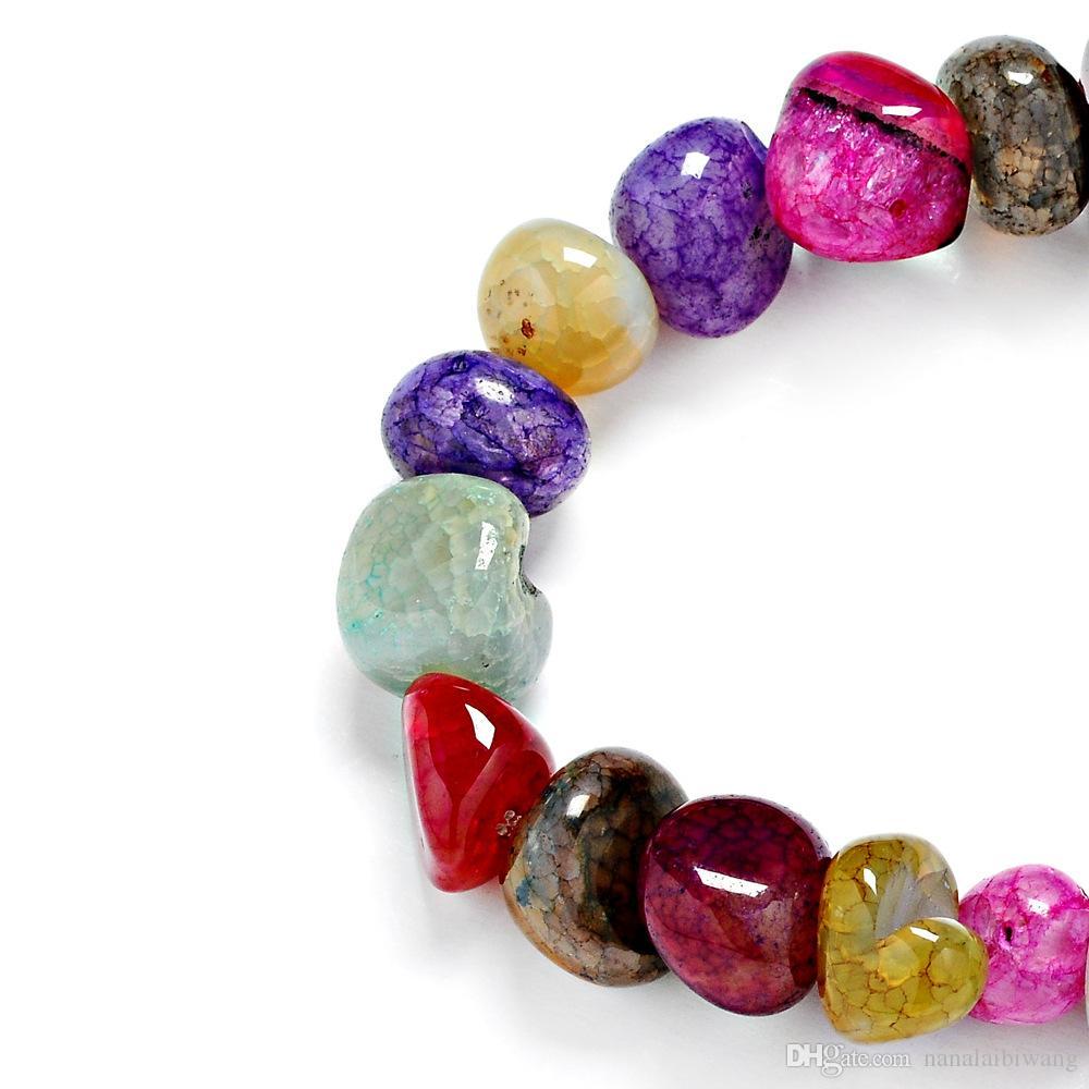 Neue Art und Weise Damen Halskette zufälliger buntes Eis Riss unregelmäßig natürliche Edelsteine Handschnur 10 * 11mm mit Farbe Achat Armband gemischt
