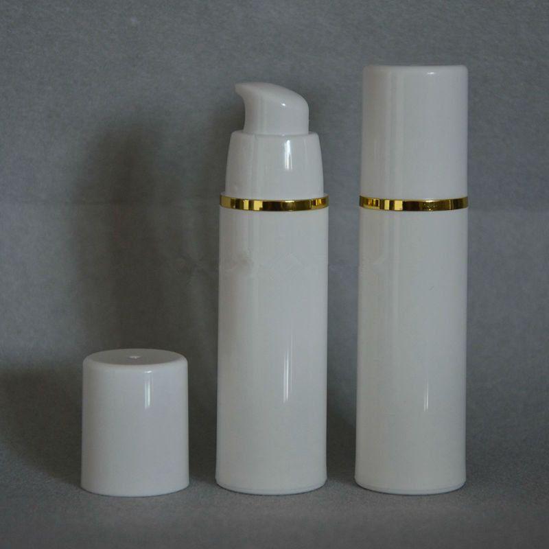 PP 15ml 30ml 50ml botella sin aire blanco claro color bomba sin aire para loción BB crema botella de vacío Blanco + Oro F20171085
