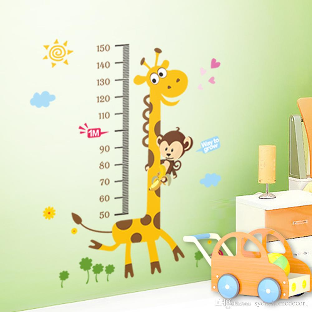 8 Designs Kids Height Chart Wall Sticker Home Decor Cartoon